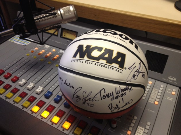 NCAA basketball signed by members of the All-Century UW Cowboy Basketball Team